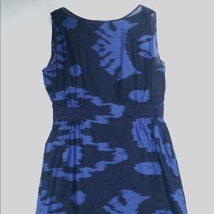 Banana Republic Blue Print Sheath Dress, Size 2
